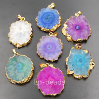 Titanium Druzy Geode Quartz Solar Flower Gold Pendants Gemstones Beads Jewelry