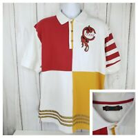 Coogi Men's Red & White Color Blocking Polo Shirt Embroidered Logo XL