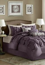 Queen Size Comforter Pillow Set 7 Piece Plum Purple Multi Color Elegant  Bedroom