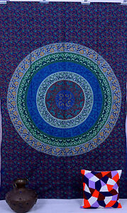 Indien Tenture Murale Tapisserie Mandala Jeté Couvre-Lit Double Bleu Drap