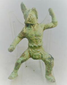 RARE ANCIENT CELTIC BRONZE HAND CARVED CRUDE STATUETTE OF A GLADIATOR