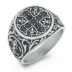 Silver Stainless Steel CELTIC CROSS Ring Mens / Ladies ~ Sizes 13 14 15  / Z +