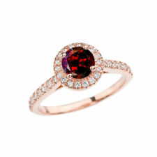 1/2ct Round Cut Diamond Halo Engagement Ring 14k Rose Gold