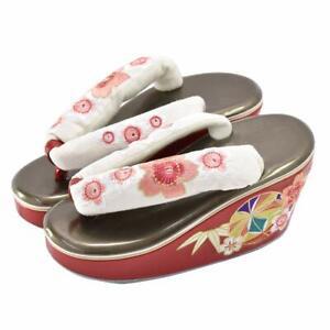 Koppori Chaussures Sandales Zouri Blanc Bronze Pour Kimono Yukata Japon Japonais