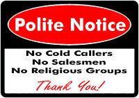 2 x No Cold Callers Salesmen or groups Security Door Warning Sign Sticker!