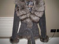 GENUINE SUEDE AND FOX FUR designer COAT, pearl grey ,UK 14, M/L,RRP 1300+