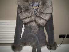 GENUINE SUEDE AND FOX FUR designer COAT, pearl grey ,UK 14, M/L,RRP 1300+