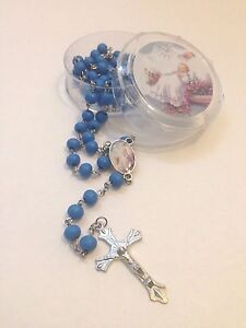 12-Baptism Favors Rosaries Cross Scented Blue Party Recuerdos de Bautizo Rosario