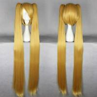 Golden Anime Long Straight Pigtail 100 cm VOCALOID MIKU Cosplay Wig