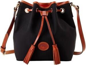 Dooney & Bourke Kendall Crossbody bucketbag black saddle trim nip nwts