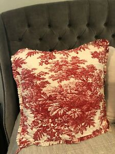 Pottery Barn Euro Sham Matin Toile Red White Quilt Ruffled Linen/Cotton 26 x 26