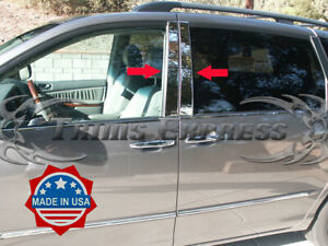 fit:2004-2010 Toyota Sienna Chrome Pillar Post 4Pc Trim Stainless Door Cover