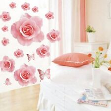 Pink Rose Flowers Vinyl Wall Sticker DIY Home Wall Decor Removable Wall Decor
