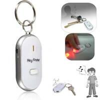 LED Anti-Lost Key Finder Locator Keychain Whistle Sound Control Keyring White