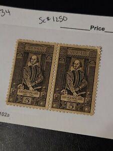 US Scott #1250, Block of 2 1964 Shakespeare 5c Unused Great Find  - #1634