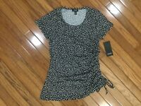 NWT Jones New York Women's Polka Dot Top Blouse Ruched Side Tie  Sz S MSRP $49