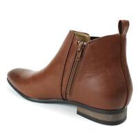 Brown Men's Chelsea Boots Ankle Dress Side Zipper Closure ÃZARMAN Almond Toe New