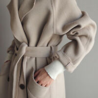 Coat Lapel Cashmere Jacket Oversize Outwear Belt Trench Womens Wool Blend Parka