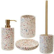 4pcs Gozo Terrazzo Liquid Dispenser Holder Soap Dish Toilet Brush Bath Accessory