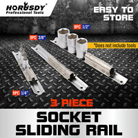 "3pc Socket Holder Sliding Rail Rack Mount Steel Tray Organizer 1/4"" 3/8"" 1/2"""