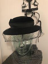630ed165a16 Vintage Hat Neumann Endler Fairfield Felt Women s Ladies  Black Net Veil  Ribbon