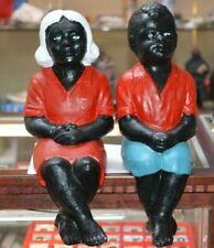 RASTUS  CONCRETE 1957 FOLK YARD ART BLACK AMERICANA (2) SEATED FIGURES