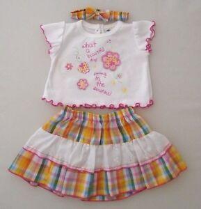 0-3m Baby Girls Summer Clothes Top Skirt Headband 3 Pce Set Yellow