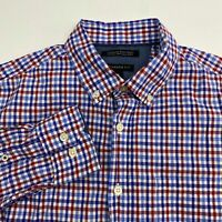 Banana Republic Custom 087 Button Up Shirt Mens Small Blue Red White Camden Fit