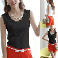 Summer Women Blouse Lace Vintage Sleeveless White Crochet Casual Shirts Tops TP