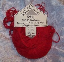 Maggi Knits Linen Yarn Red 1 Skein 50g 126 yds Color 10 Luxury Hand Knitting