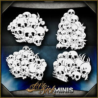 Mini Skull Background Set 5 -  Airbrush Stencil Template Airsick