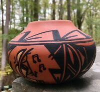 Vintage Navajo Pottery Bowl Skeeter Vail Bowl Vase with Flute Player Kokopelli
