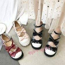 Lolita Girls Maid Mary Janes Flats JK Uniform Shoes Cosplay Bowknot Round Shoes