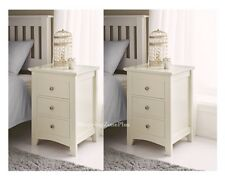 2 PAIR SET ELEGANT CREAM SOLID WOODEN 3 DRAWER BED SIDE TABLE CABINET CHEST NEW