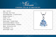 Natural 3.1 ct Blue Topaz Pendant with 925 Sterling Silver Necklace UK Seller
