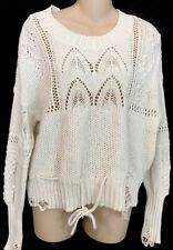 Wildfox Sweater Off White Knit Distressed Long Sleeve Size XS NWT
