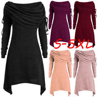 Plus Size Womens Solid Ruched Long Foldover Collar Tunic Long Blouse Tops Shirts