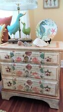 Hand Painted Vintage Chest/End Table Coral Seas Nautical Design