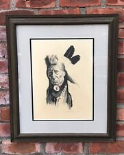 Native American Portrait Of A Chief. By Arizona Artist Patricia Dobson. Signed