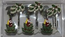 12 Avanti SANTA in Christmas Trees & Mistletoe Shower Curtain Hooks NIP DISC