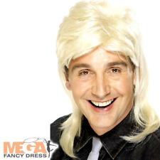 Blonde Mullet Wig Mens Fancy Dress 1980s Rock Star Celebrity Adults Costume Acc