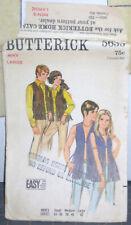 Vintage 1971 Men's Mod Hippie Fringe Vest Butterick 5633 Large 42 Chest Cut