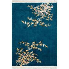 YILONG 4'x6' Bamboo Handmade Wool Carpet Chinese Art Deco Peacock Green Area Rug