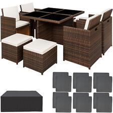 Ensemble Salon de jardin ALU résine tressée poly rotin chaise table set marron