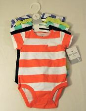 CARTER'S 5 Pack Short-Sleeve Bodysuits (Baby) Stripes/Solids, 3 Months, Layette