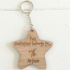 """Personalised Star Keyring """"THIS GODFATHER BELONGS TO """"  Wooden Home"""