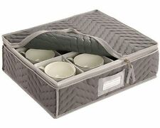 """China Cup Storage Chest - Deluxe Quilted Microfiber (Light Gray) (13""""H x 15.5""""W"""