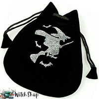 "WITCH on BROOM Black Velvet Pouch 5""x4"" Drawstring Bag Wicca Witch Tarot Jewelry"