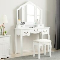 Folding Mirror Vanity Set Dressing Table Makeup Desk 5 Drawers with Stool White