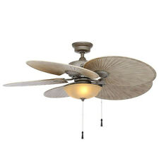 Outdoor Large Cambridge Silver Ceiling Fan 5 Palm ABS Blades Light Kit Tropical